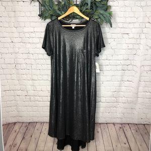 LuLaRoe Black Metallic Carly Shift Dress